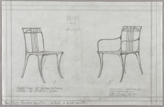 Horizontal rectangle, ruled borders in graphite. Two designs for metal garden chairs with curving legs, the splat made up of four metal bars forming curving leaf motifs at the top rail; design shown with and without arms in three quarter front view. Between the chairs, near top, a sketch of a frontal view of chair in similar style. Graphite inscriptions below each.