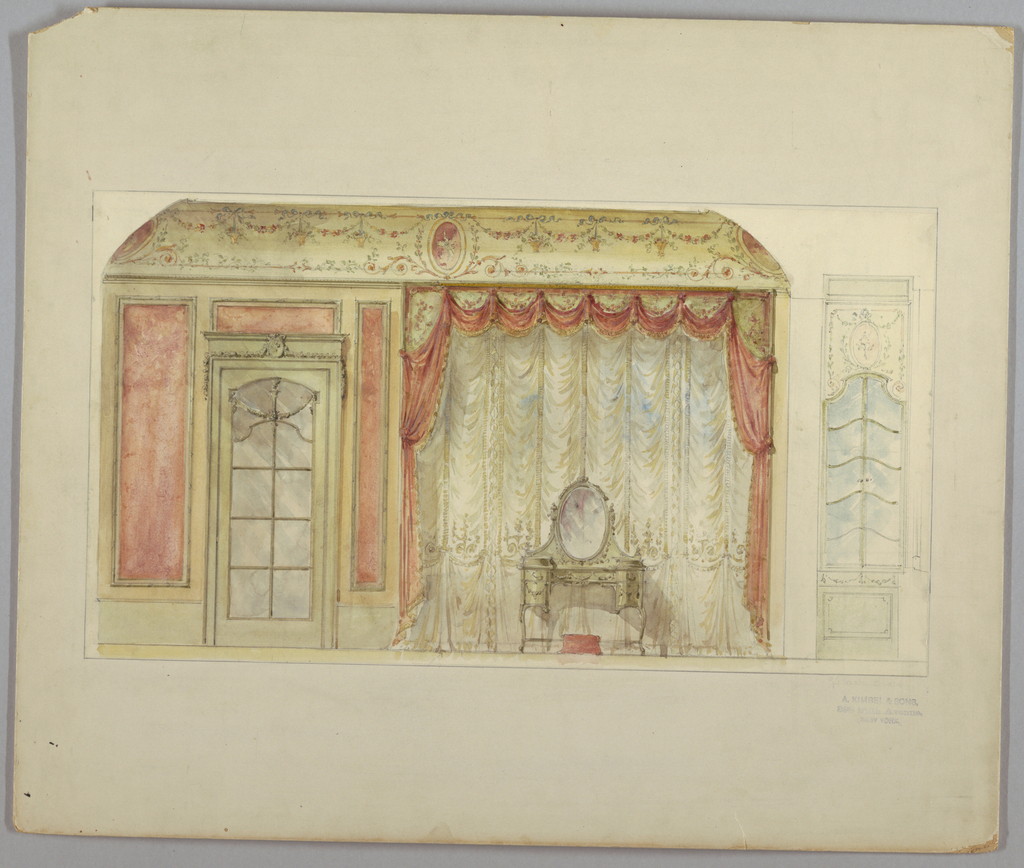 Drawing, Bedroom Wall Elevation, 19th–20th century