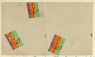Cream ground with irregularly placed rectangles comprising green, orange, and purple stripes with a motif of a red three-leafed sprig within each rectangle.