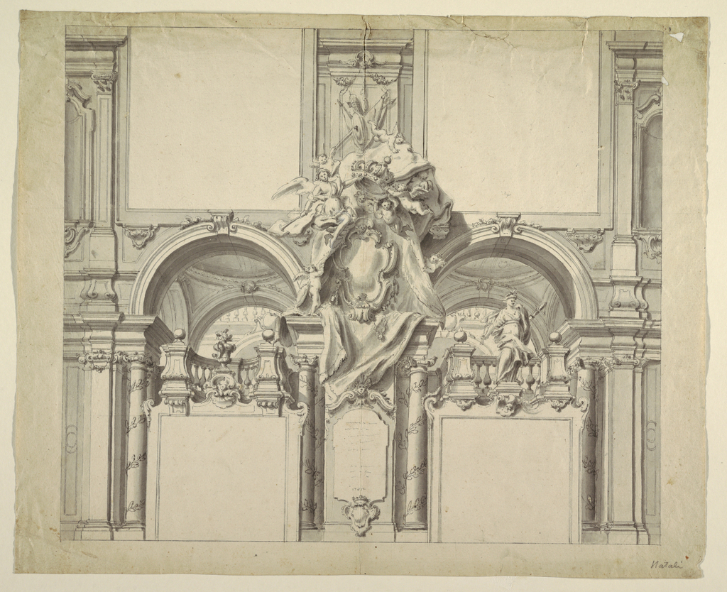 Design for wall decoration, architectural design with cartouche at center, over which putti surrounded in drapery are holding a royal crown.
