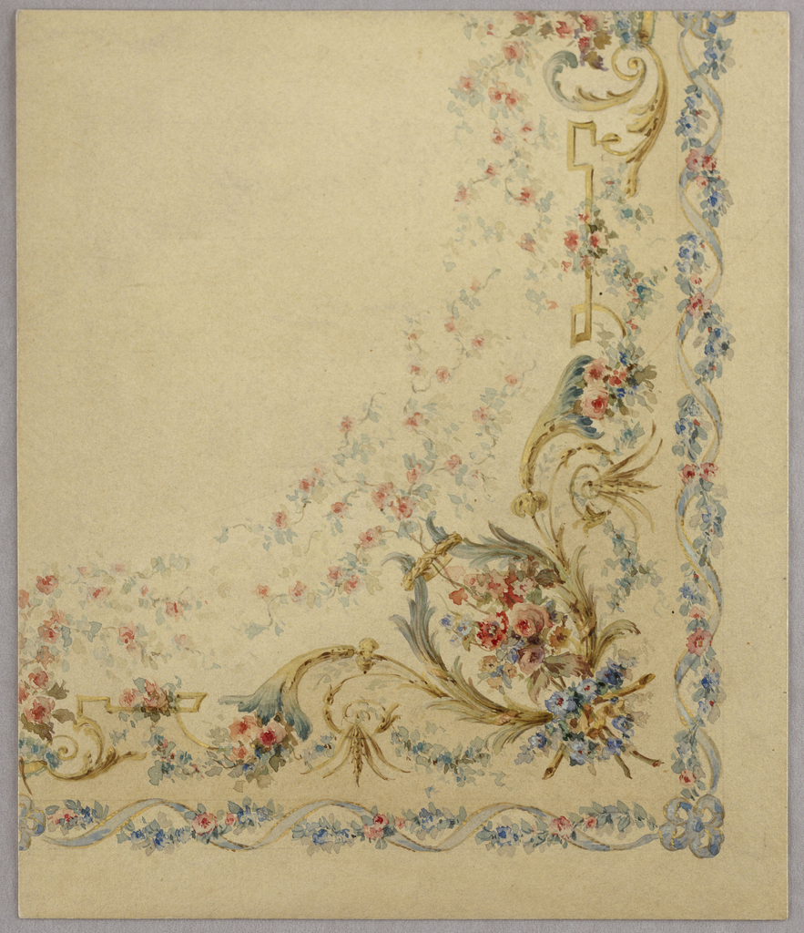 Drawing, Watercolor designs for decorative panels, textiles and interiors