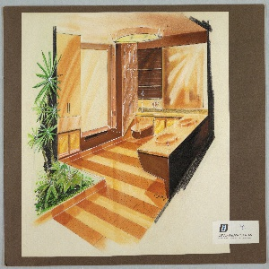 Design for bathroom interior of prefabricated fiberglass house. Interior perspective shows bathroom with double vanity with in brown and orange at left; counter angles rightward, becoming a shallow ledge below what could be a square wall mirror and a series of shelves with rolling cabinet fronts over toilet at center. Toilet, like vanity, floats out from wall. To the right of the toilet, length of wall decorated with stylized oblong honeycomb-and-circle pattern, possibly extrusion molded. To the right of this panel is a walk-in shower without visible hardware. Further to the right is a stack of cabinets and storage space, which abuts an interior garden bed with succulent plants and trees. Floor pavement is alternating stripes of smooth light orange material and darker orange tiles.
