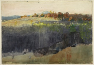 Horizontal view down a cleared, tree-stumped hillside into a wooded valley with a partly cleared hill, and a mountain in distance; pentimento of logger with ax over his shoulder, near tree-truck, at right of lower center.
