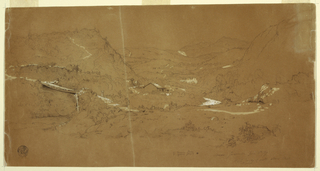 Recto:  Horizontal view of a valley with a bridge covered stream flowing and cascading from central left foreground around past a house at center and eventually disappearing into the central middleground, while several houses stand upon a hill in the right background beneath mountain ranges which encompass the valley.