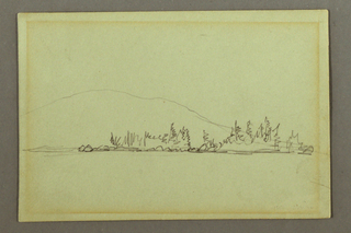 Drawing, Wooded shore, mountain, possibly 1856