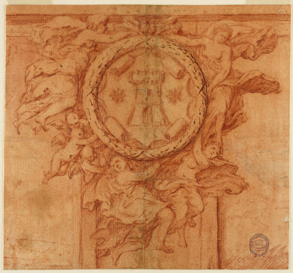 Four female figures with flowing robes support the circular medallion at center. Two of the figures are below, and two are on either side of the medallion. Three winged putti support the medallion on the left. On the medallion is a tower between two stars.