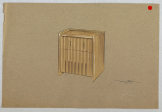 Drawing, Rectangular brown cabinet