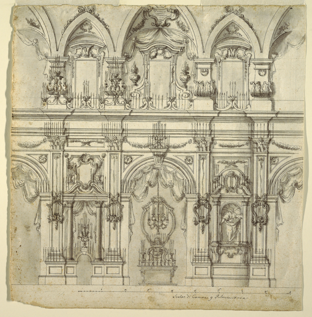 Drawing, Elevation of the Nave of a Church