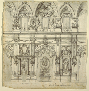 Architectural interior drawing of a two-tiered wall decorated with candelabrum, statues, columns, and pediments.