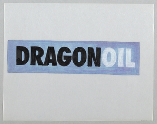 Design for logo. The word DRAGONOIL in thick, san-serif block capital letters placed on blue and purple rectangle in center of sheet. The word dragon in black; oil in white. Blue and purple markers applied on the verso of the sheet. Rectangle outlined in graphite on recto.