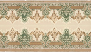 Mirror image of scroll anthemions alternating with heart-like motifs over jagged frame with acanthus shape. Printed in turquoise, rose, light blue on cream beige ground. Two borders printed across the width.