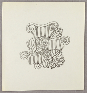 Drawing, Three Ionic capitals with