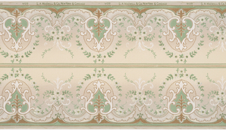 Arabesques containing vines; each connected by lace-like trimming and tri-floral motifs with C-scrolls. Printed in white, turquoise, burgundy, and green on light blue gradient ground. Two borders printed across the width.
