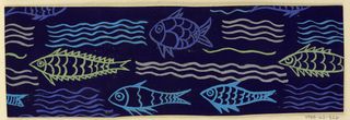 Dark blue ground with pattern of orange, blue, yellow, and pink fish and waves.