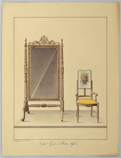 Drawing, Mirror on Swivel Floor Stand & open arm Chair, floral motif, 1860