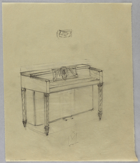 Drawing, Piano with carved legs