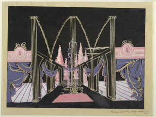 Drawing, Design for Entrance Hall, Perfume Industries Building, New York World's Fair 1939–40