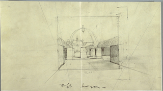 On cream ground, design for a building or monument contained within a square frame at center of sheet. Rectangular stone forms placed evenly along the ground in middleground. In background, sketchy indications of a dome. Beyond the dome, domestic buildings. Measurement notations throughout. Signature in graphite, lower center.