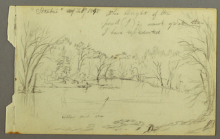 Drawing, Htakie (?) Pond Bordered by Trees, 1845