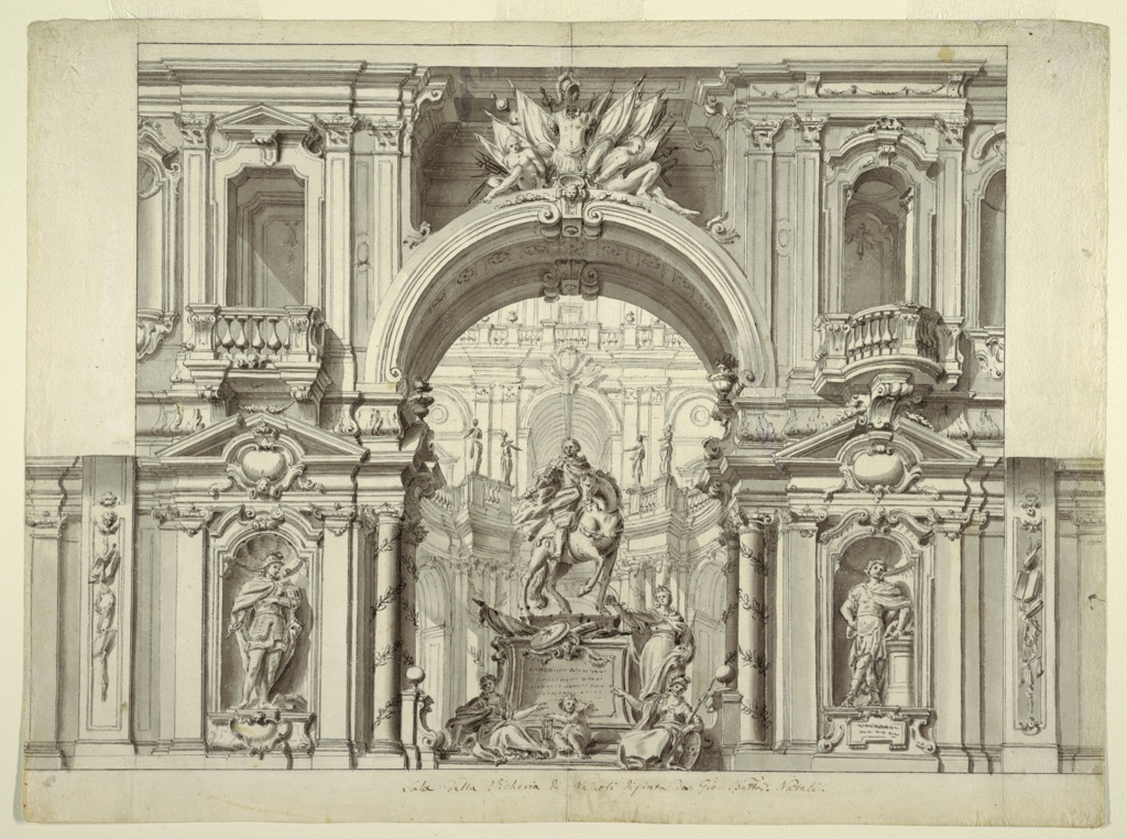 Design of wall decoration and monument showing architectural façade with alternate suggestions for balconies and niches. At center, a large arch with military trophies and captives frames an equestrian statue and allegorical figural sculptures. Behind, a courtyard with the façade of another building.