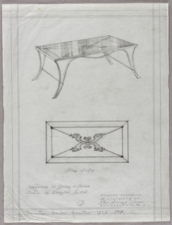 Vertical rectangle, ruled borders in graphite. Plan and elevation for a metal garden or terrace table with curving legs and supports, the table top decorated with four cornucopias at center, four diagonal lines reaching to the corners, and a framing rectangular border. Graphite inscriptions below.