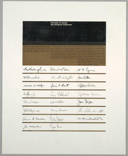 Rectangle of silver foil and dark brown, bisected with band of black with Sterling Wortmen in full justification printed insilver. Black text on brown. Below, reproduction of the signatures of individual trustees separated by brown bands. Colored block and eight lines individually embossed.