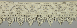 Border with openwork and macramé edging.