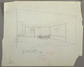 Perspective drawing of interior; counter with cabinets above on left wall, low table with chairs around it in back right corner; door in the center of back wall; sketches below the interior.