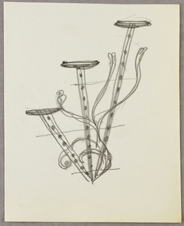 Drawing, Three brackets with folia
