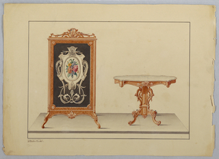 Drawing, Fire Screen & marble-top Table, 1860