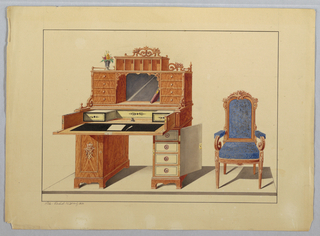 Drawing, Large Desk & open-arm Chair in blue fabric, 1860