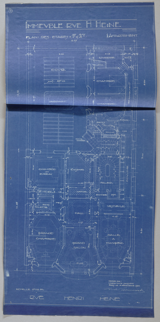 Blueprint, Apartment House, Rue Heine, Plan des Etages 1e et 2e
