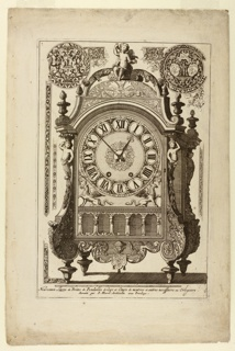 Design for a sculpted metal table clock, surmounted by a figure of seated cupid. At top of plate and along sides, various designs for chased ornamentation.