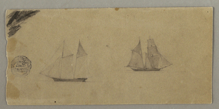 Two sailing ships shown in profile. Pencil scratchings in the left top corner.