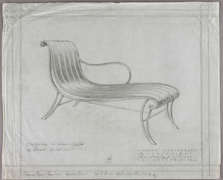 Horizontal rectangle, ruled borders in graphite. Design for metal garden chaise longue with curving legs and arm, the seat and splat made up of vertical curving pieces of metal curling over the top and bottom edges; design shown in three quarter front view. Graphite inscriptions below.