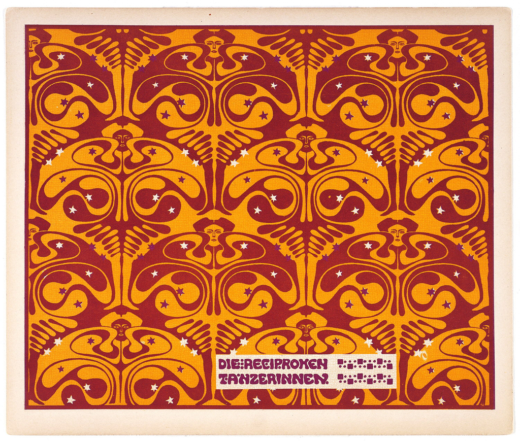 """Title in purple in horizontal text box, lower center, right: DIE RECIPROKEN / TANZERINNEN.  Vertical rows of """"butterfly women"""" with purple and cream stars on maroon and mustard ground. Verso:  Title of portfolio in gray in box, upper left.  Vertical rows of flower-like motif in gray on cream."""