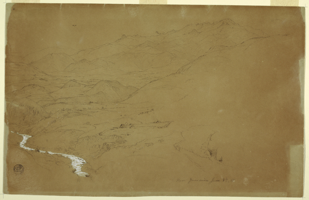 Horizontal view of a valley, at left, with mountain ranges rising toward the right: a stream, with houses near its bank, flows in lower left corner, with more houses scattered throughout the valley.