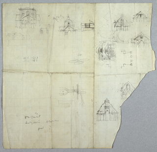On a sheet with a loss at right, several sketches of architectural drawings with designs for various buildings oriented vertically and horizontally. Annotations throughout. Illegible graphite inscriptions at lower left.