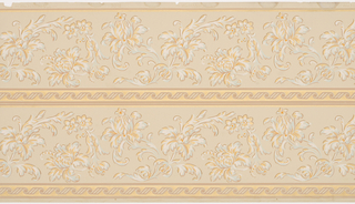 Two bands of a repeating floral design separated by a geometric ornamental band and bordered on the bottom by a similar geometric band and on the top by two thin horizontal strips on a solid ground. Printed in white, metallic gold, beige, orange, light blue, brown and salmon-color.
