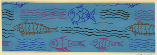 Blue ground with pattern of orange, blue, purple, and pink fish and waves.