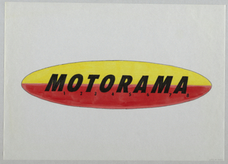 Large red and yellow oval with Motorama in slanted black letters. Each letter numbered 1 to 8.