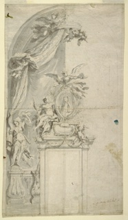 Half-completed drawing for a memorial. At center, an oval portrait (of Giovanni Domenico Milano). Above, a figure playing trumpet, and at left a sitting figure with a staff. At the left border of the drawing, a figure stands with upraised arms on a thick baluster. A heavy curtain is suspended from above, forming the background for the completed part of the drawing.