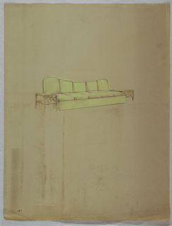 Drawing, Green couch with side tab