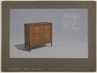 Design for wooden commode showing movable parts.
