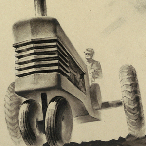 View of farmer wearing a cap driving a streamlined tractor, a vehicle intended for agricultural, farming, or construction purposes. The tractor appears on a road in the center of the composition, with a hill and trees on the left and trees on the right. The vehicle approaches the viewer, and foreshortening is exaggerated, making the front end loom large like a speeding train. The tractor's radiator takes the form of six horizontal strips or grills.