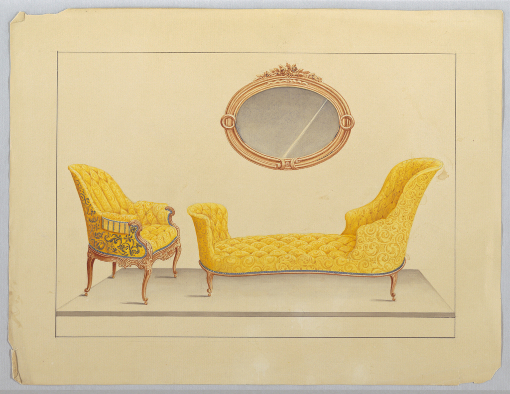 Drawing, Chaise & closed Arm Chair in yellow fabric; Oval Mirror, 1850–1900