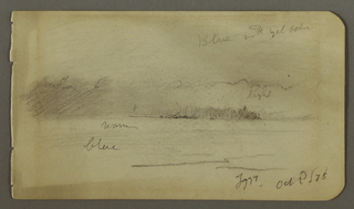 Drawing, Wooded shore in Fog