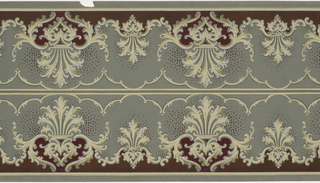 Two mirror-reversed bands of repeating anthemion design with acanthus ornament connected to similar smaller anthemion designs crowned by a repeating vine design on a solid ground with dots of complementary color around the ornament bordered and separated by thin horizontal stripes. Printed in browns, greens, white, scarlet and greenish-gray.