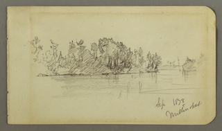 Drawing, Lake and wooded shore, 1878