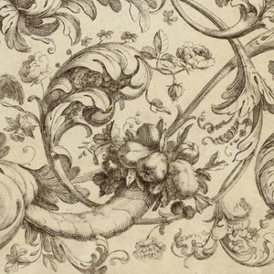 Horizontal rectangle showing large rinceaux design with curling acanthus leaves and two putti, one of who holds a laurel wreath. At left, a design for half a watch cover, and a vertical frieze with candelabrum motif. Thin line at perimeter, cut off at left.